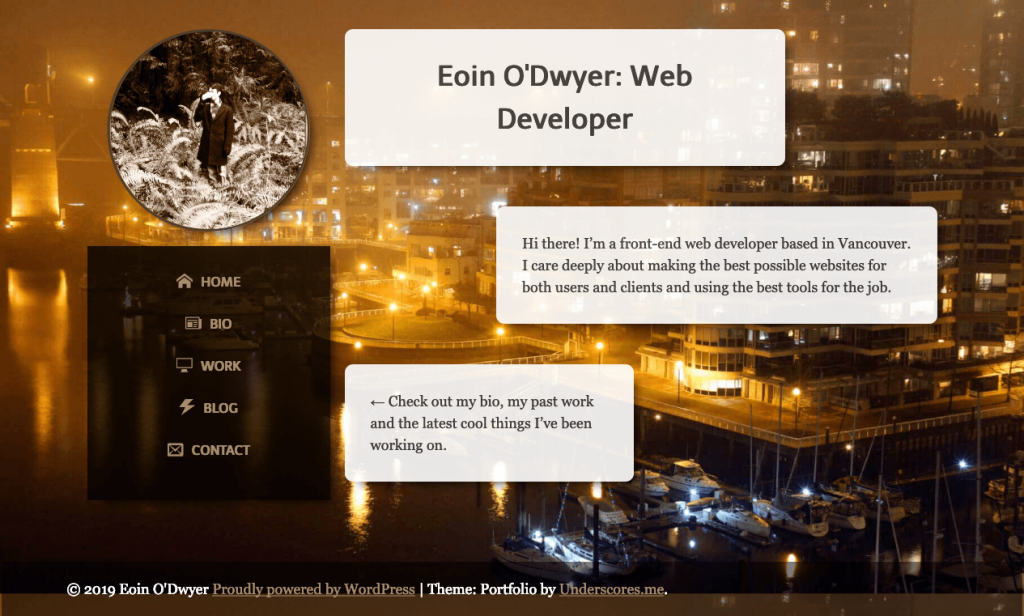 Screenshot of the homepage of eoinodwyer.com